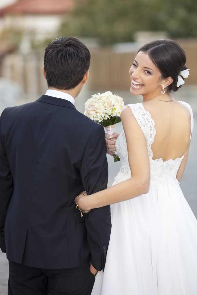 Bride in Vintage Wedding Gown