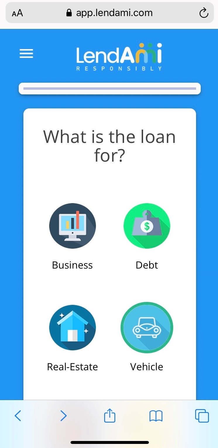 LendAmi Auto Loan Mobile View